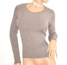 MAGLIETTA BEIGE TORTORA maglia donna sottogiacca manica lunga girocollo F105