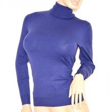 MAGLIETTA BLU maglioncino donna sottogiacca COLLO ALTO maglia maglione maniche lunghe H5