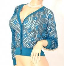 MAGLIETTA donna AZZURRA elegante COPRISPALLE maglia cardigan maniche lunghe sexy rete 10X