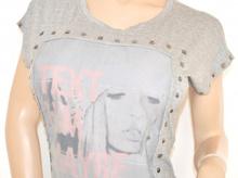 MAGLIETTA donna GRIGIO maglia girocollo sottogiacca viscosa t-shirt MANICHE CORTE chiodini cotone argento 55X