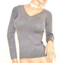MAGLIETTA donna GRIGIO sottogiacca maglia manica lunga scollo V maglioncino F45X