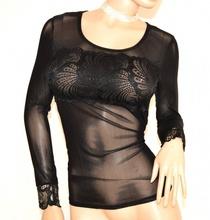 MAGLIETTA NERA donna maglia sottogiacca velata pizzo manica lunga ricamata A10