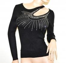 MAGLIETTA NERA donna manica lunga maglia sottogiacca maglione strass elegante A5