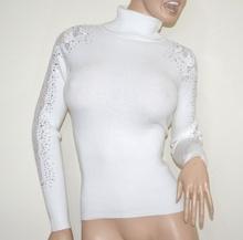 MAGLIONE BIANCO collo alto donna maglietta manica ricamata sottogiacca strass G3
