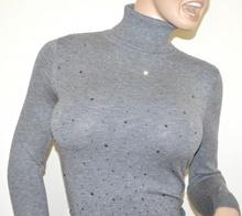 MAGLIONE COLLO ALTO GRIGIO donna maglietta strass dolcevita maglia sottogiacca manica lunga A39