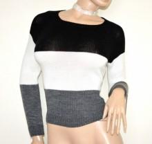 MAGLIONE donna nero grigio bianco golfino pullover maglia girocollo manica lunga made in Italy G75