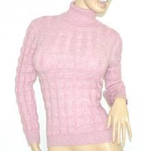 MAGLIONE ROSA LILLA maglia donna collo alto lana maglioncino maniche lunghe pullover Z5