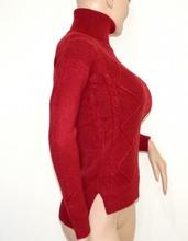 MAGLIONE ROSSO collo alto donna maglietta manica lunga dolcevita pullover G1
