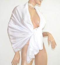MAXI STOLA BIANCA donna foulard 80% SETA velata coprispalle sposa cerimonia elegante scialle abito da sera E85