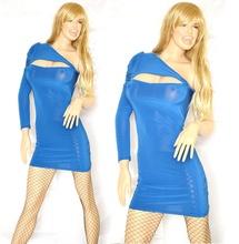 MINI ABITO BLU donna vestito tubino monospalla aderente manica lunga smanicato elegante party V27
