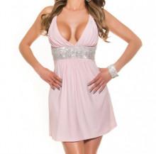 MINI ABITO ROSA donna vestito giromanica scollo V strass elegante cerimonia AZ35