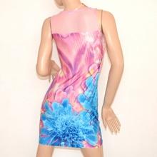 MINI ABITO tubino donna abitino vestito giromanica corto floreale a rete rosa celeste elasticizzato copricostume 100B