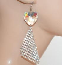 MONO ORECCHINO donna argento ciondolo cuore cristallo pendente strass CC220