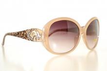 OCCHIALI da SOLE donna BEIGE CARAMELLO  maculati leopardati tigre argento lenti ovali sunglasses gafas E15