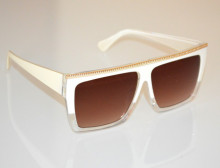 OCCHIALI da SOLE donna BIANCA ORO lenti rettangolari dorate white sunglasses BB46