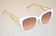 OCCHIALI da SOLE donna BIANCHI aste ORO dorate metallo lenti ovali sunglasses BB43
