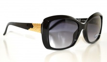 OCCHIALI da SOLE NERI donna eleganti fregi ORO sexy lenti lunettes gafas 110