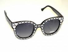 OCCHIALI da SOLE NERI donna lenti effetto strass cristalli bianco argento cuori BB12