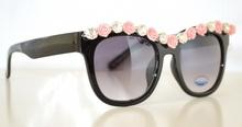 OCCHIALI da SOLE NERI eleganti CRISTALLI strass ROSA fiori rosa floreali lenti donna cerimonia gafas 115