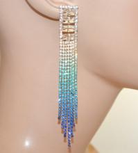 ORECCHINI ARGENTO BLU AZZURRI donna fili strass pendenti lunghi cristalli pendientes N18