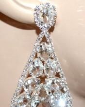 ORECCHINI ARGENTO donna pendenti lunghi cristalli gocce strass eleganti sposa BB4