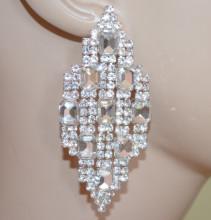ORECCHINI ARGENTO donna pendenti lunghi rombi cristalli trasparenti strass eleganti sposa S46