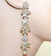 ORECCHINI argento fiori cristalli trasparenti donna pendenti lunghi strass cercei G55