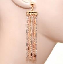 ORECCHINI argento oro rosa dorato donna fili pendenti lunghi cerimonia earrings GP20