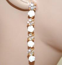 ORECCHINI BIANCHI ORO donna pendenti lunghi cristalli trasparenti strass roselline BB2