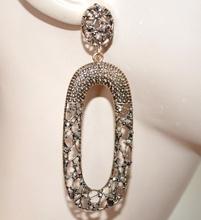 ORECCHINI BRONZO pendenti ovali donna strass chiodini etnici bruniti boucles A9