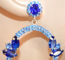 ORECCHINI CRISTALLI BLU donna strass azzurri cerchi pendenti fiori argento eleganti N88