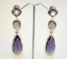 ORECCHINI Cristallo Viola Ametista donna argento pendenti strass bronzo perla earrings P6