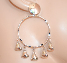 ORECCHINI donna ARGENTO cerchi pendenti ciondoli cuori ragazza silver earrings CC232