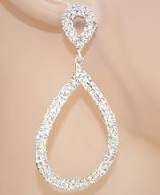 ORECCHINI donna ARGENTO cristalli STRASS da cerimonia pendenti ovali eleganti 60X