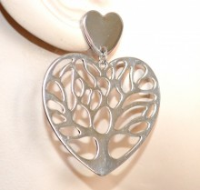 ORECCHINI donna argento cuore albero pendenti lucidi regalo san valentino CC140