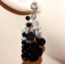 ORECCHINI donna argento NERI pendenti fiori strass cristalli Ohrringe BB6