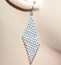ORECCHINI donna argento pendenti strass brillantini cristalli elegante cerimonia A47