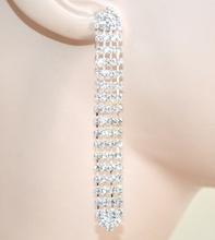 ORECCHINI donna argento pendenti strass cristalli sposa eleganti boucles F120