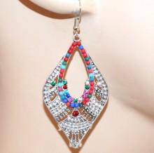 ORECCHINI donna argento strass perline multicolore etnici pendenti pendientes CC93