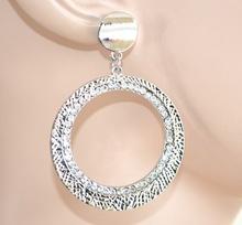 ORECCHINI donna CERCHI ARGENTO cristalli strass da cerimonia eleganti boucles E54