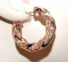 ORECCHINI donna cerchi oro rosa metallo lucido ondulati semi aperti earring BB47