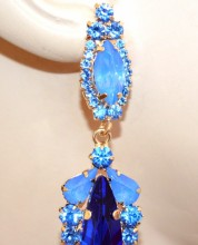 ORECCHINI donna cristalli BLU AZZURRI ORO pendenti strass cerimonia pendientes aretes BB58