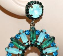 ORECCHINI donna cristalli verdi azzurri celeste acquamarina cerchi strass pendenti N12