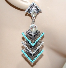 ORECCHINI donna etnici argento tibetano strass perline azzurre ragazza regalo G7