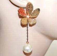 ORECCHINI donna fiore pendente oro dorato martellato filo nero perla boucles CC126