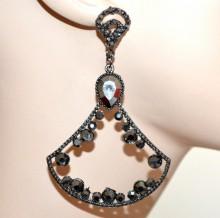 ORECCHINI donna GRIGIO NERI pendenti lunghi cristalli strass brillantini серьги CC79