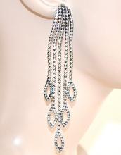 ORECCHINI donna NERI pendenti lunghi strass eleganti fili cristalli da cerimonia Z5