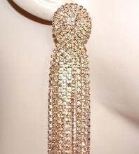 ORECCHINI donna oro ambra strass pendenti fili lunghi cristalli eleganti earrings G3