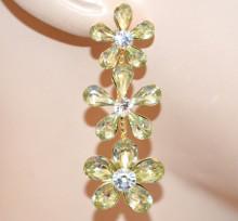 ORECCHINI donna ORO BEIGE CHAMPAGNE fiori strass cristallo eleganti pendenti sposa cerimonia Z28