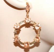 ORECCHINI donna oro dorati cristalli rosa cerchi pendenti martellati strass CC82